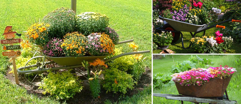 planted wheelbarrow